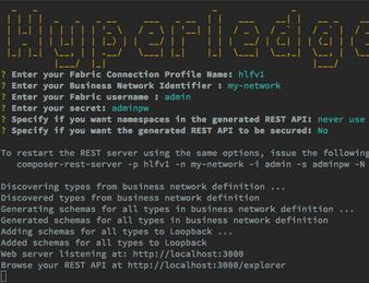 Hyperledger Composer REST server